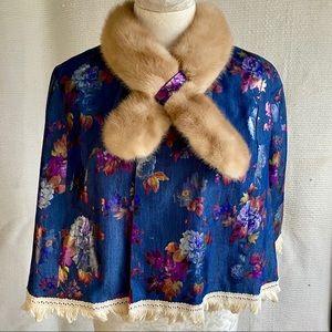Vintage Cape OS Mink Fur Rainbow Floral Print Wrap